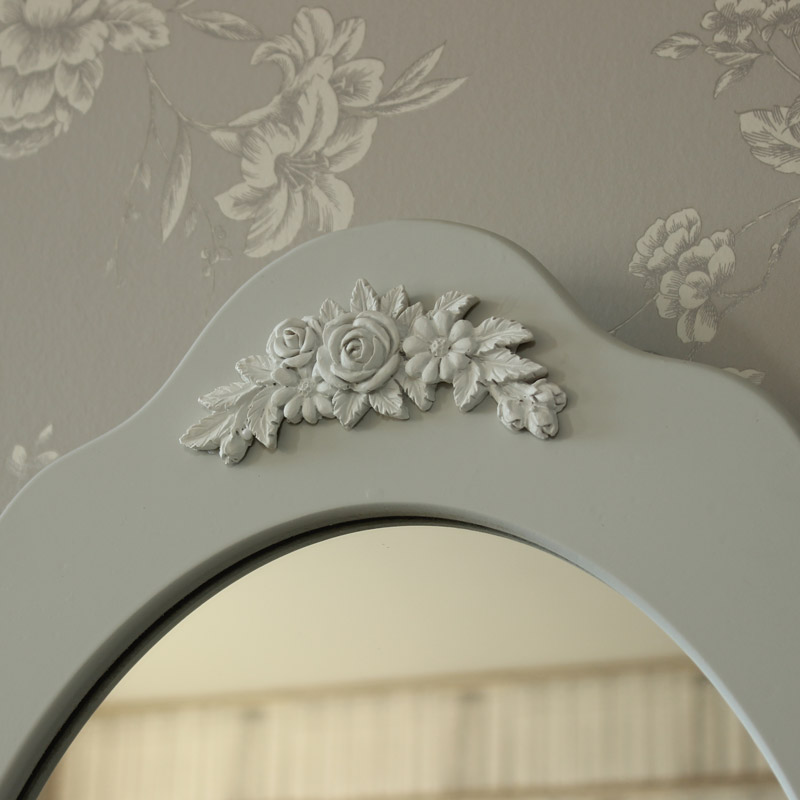 Grey Dressing Table Swing Mirror And Stool Claudette