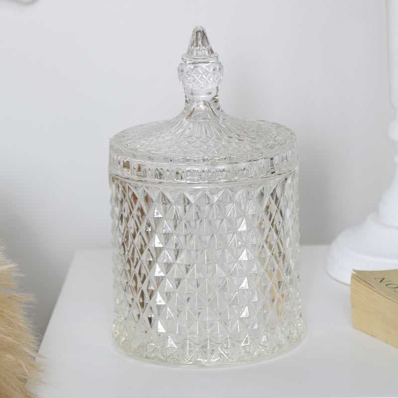 Clear Glass Bonbon Sweet Jar with Lid