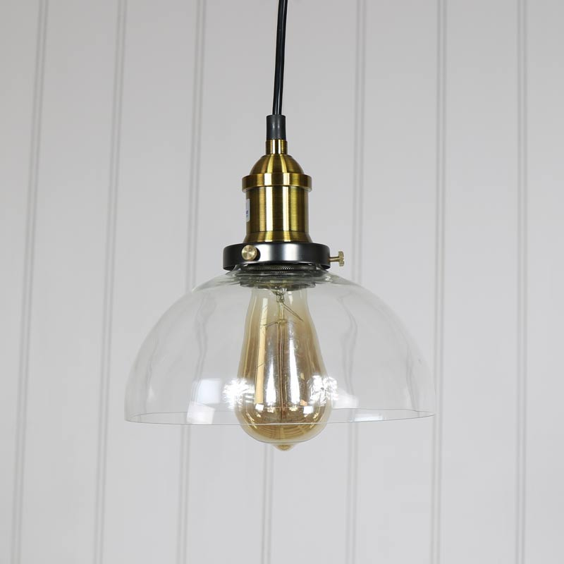 Dome Ceiling Lights: Clear Glass Dome Industrial Pendant Ceiling Light Retro