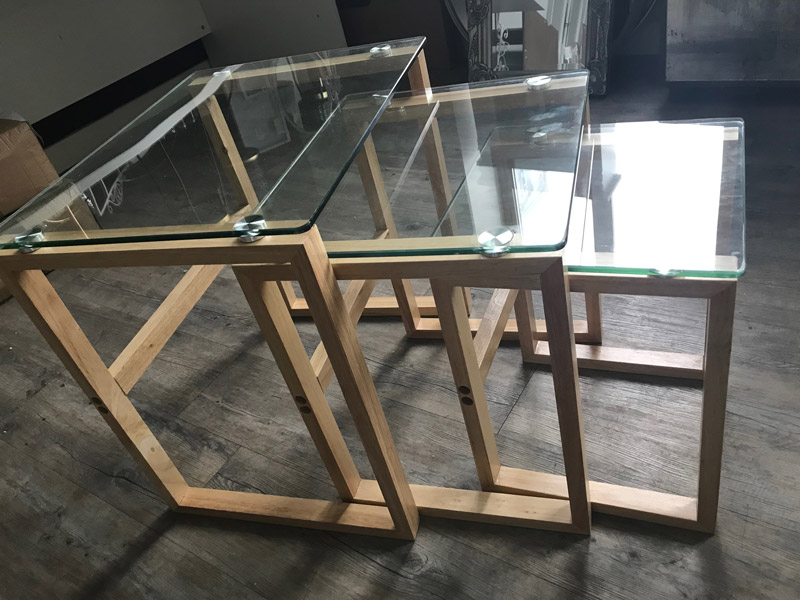 Clear Glass Topped Nest of Tables with Oak Legs EX-SHOWROOM ITEM 3013