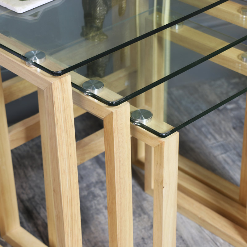 Clear Glass Topped Nest of Tables with Oak Legs
