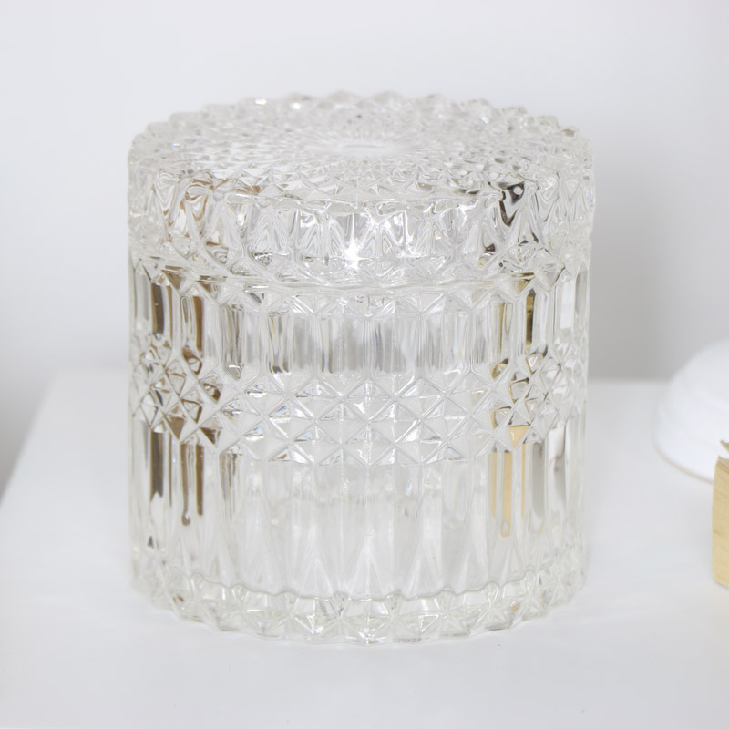 Clear Glass Trinket Jar with Lid