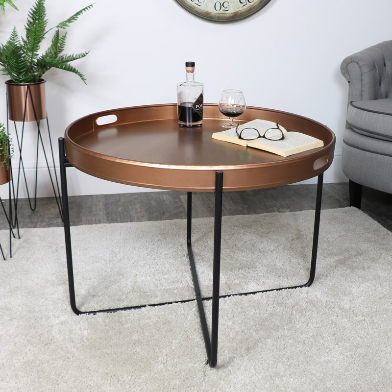 Copper Black Tray Table Large