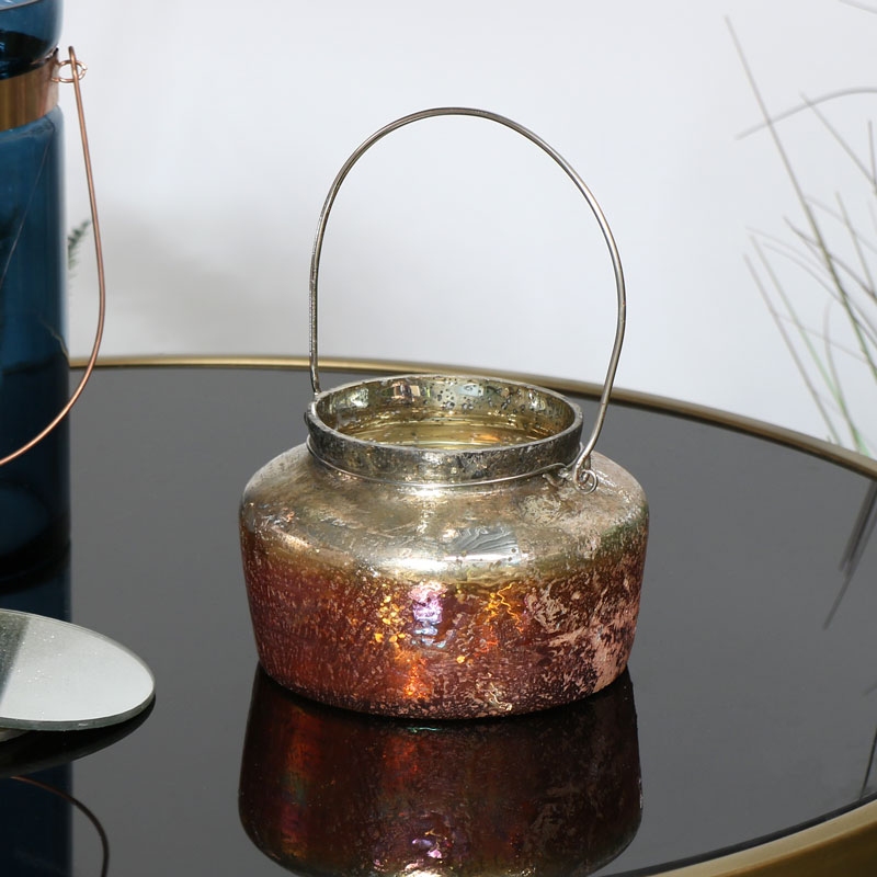 Copper Glass Candle Holder