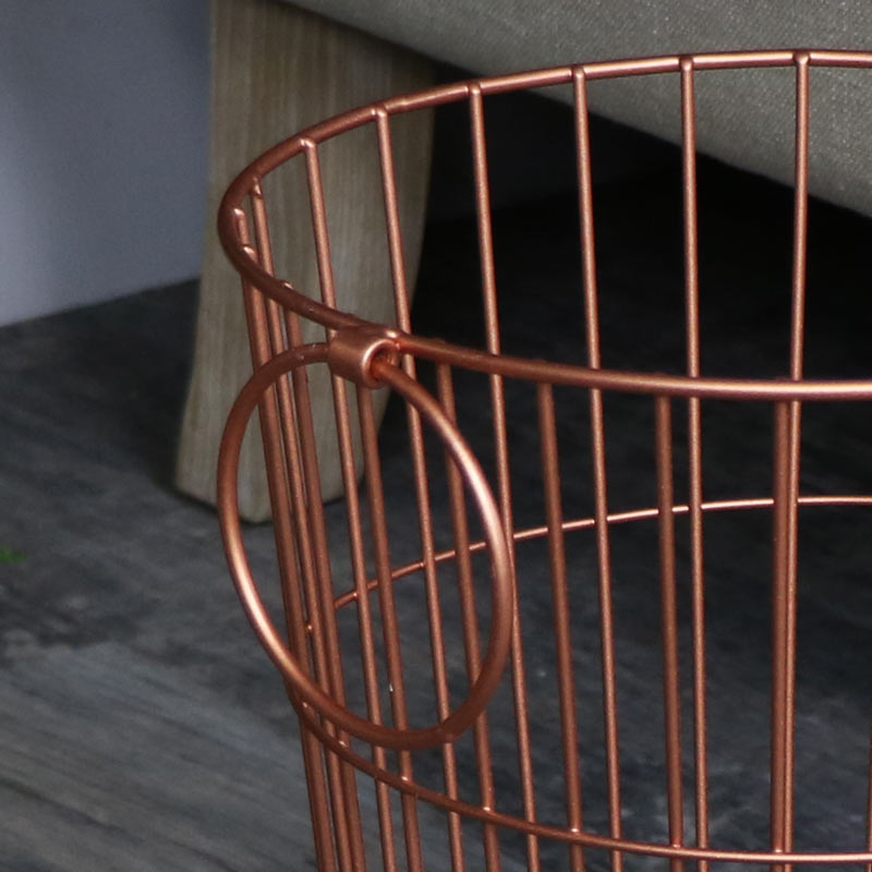 Copper Metal Waste Paper Basket bin