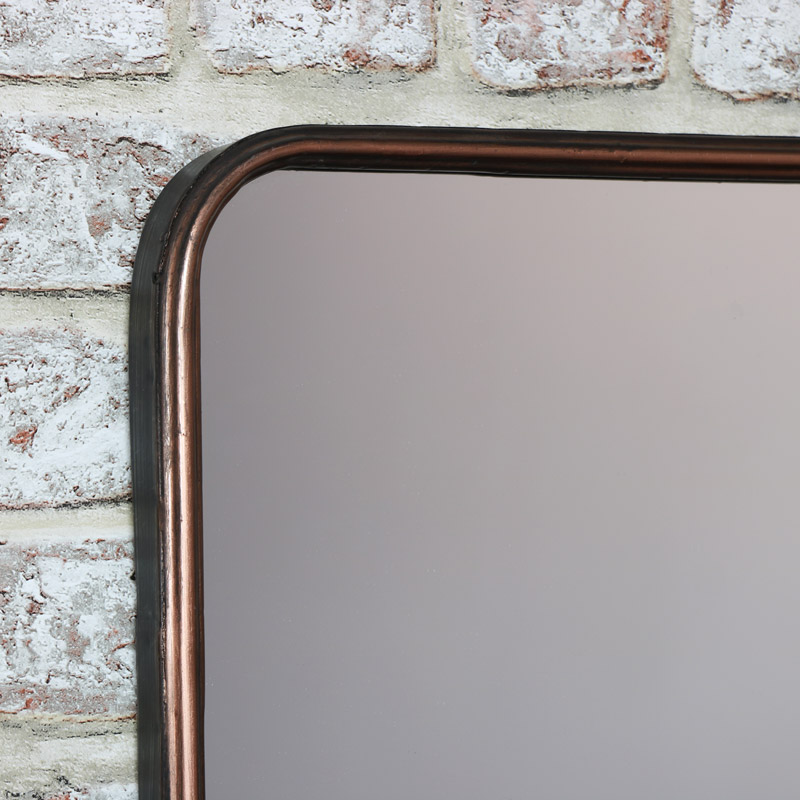 Copper Wall Mirror with Shelf