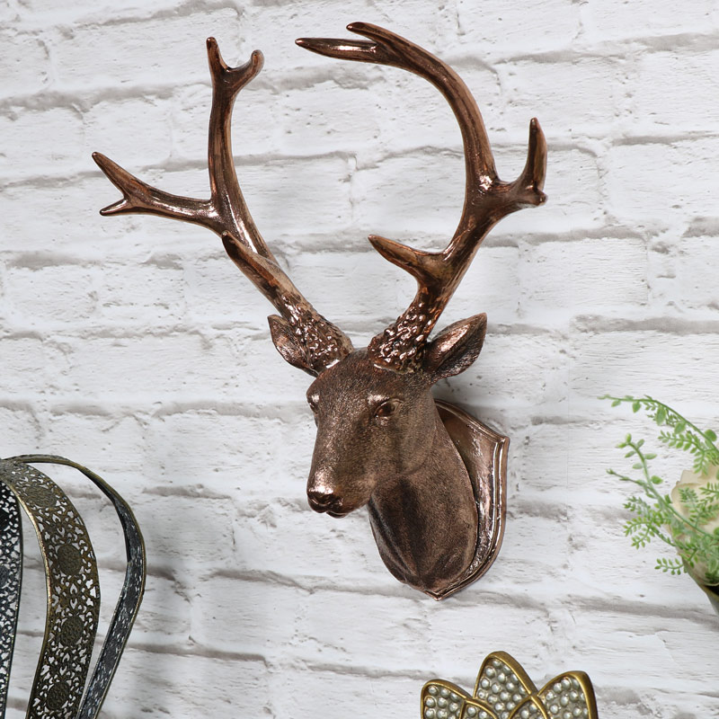 Copper wall mounted stag head decoration melody maison - Silver stag head wall mount ...