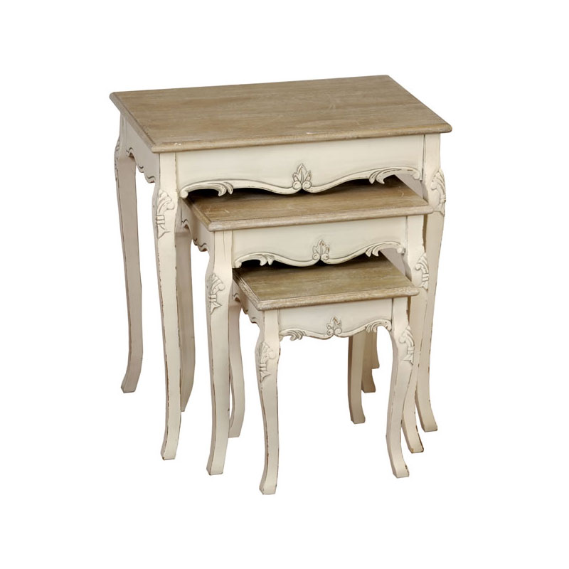 Cream Wood Nest Tables Living Room Shabby French Chic