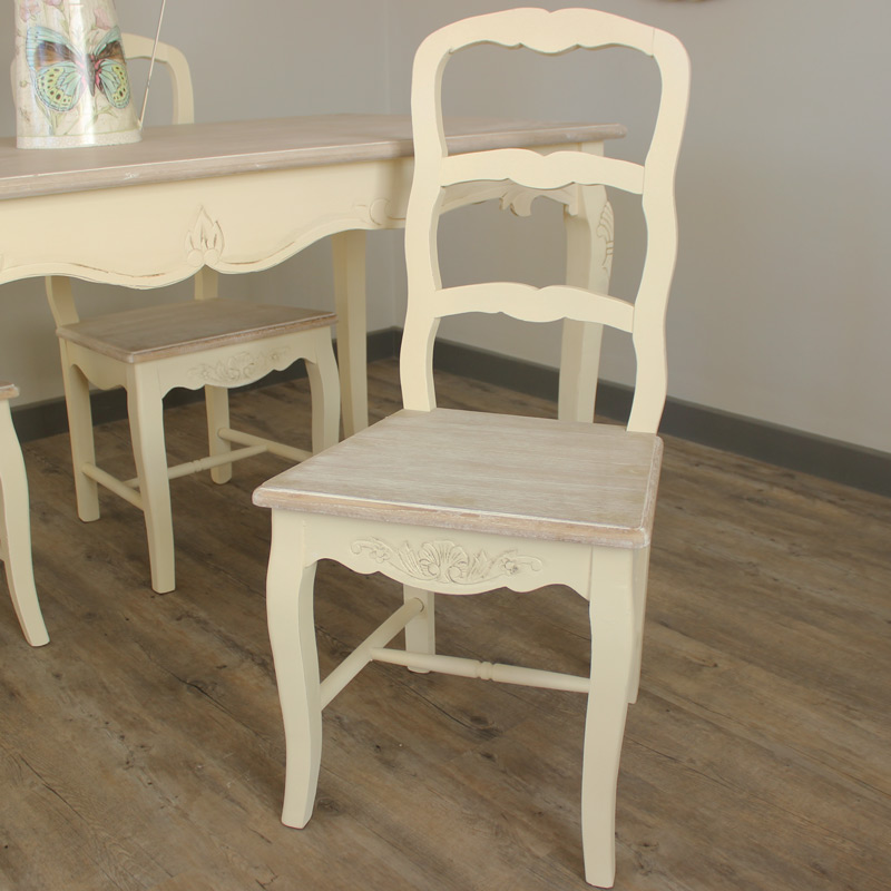 Set Of 4 Country Cream Dining Chairs