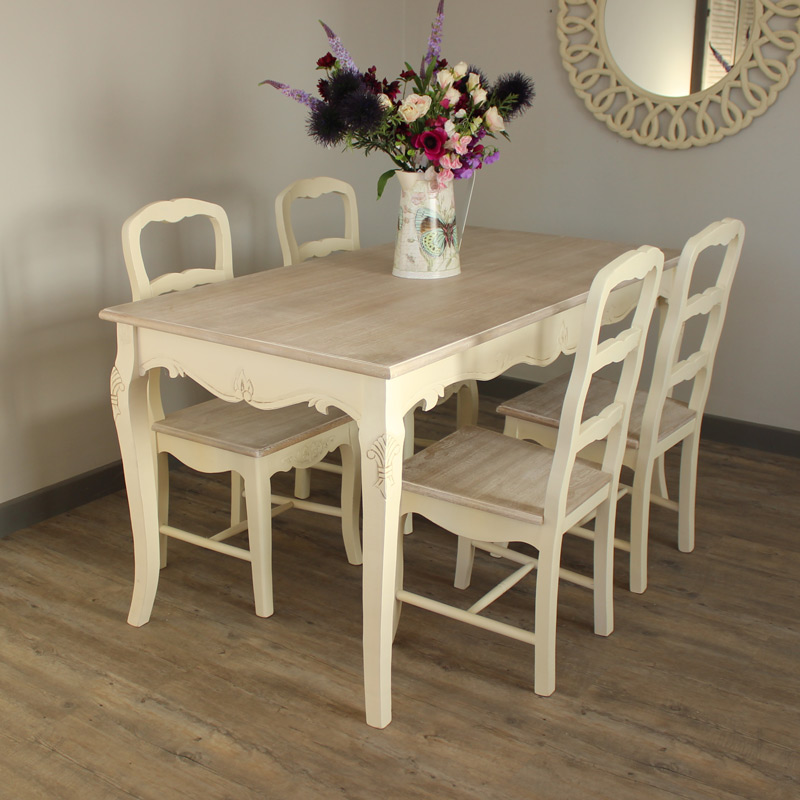 Country Dining Table With Bench: Set Of 4 Country Cream Dining Chairs