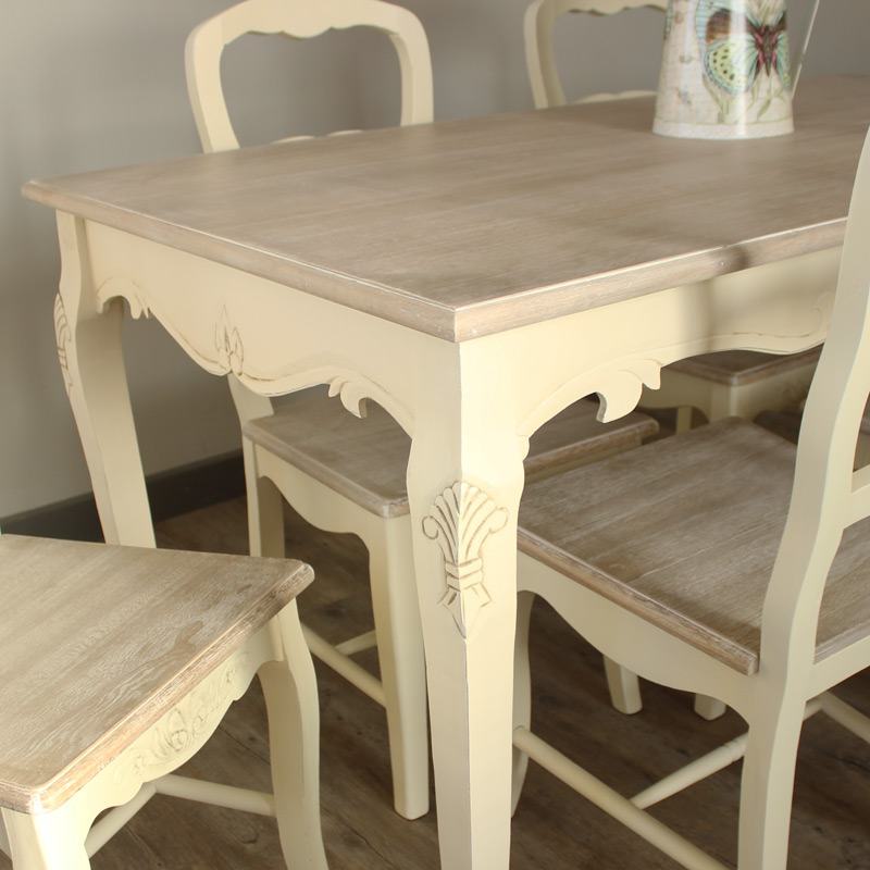 Cream Large Dining Cream Dining Room Set Table And 6 Chair
