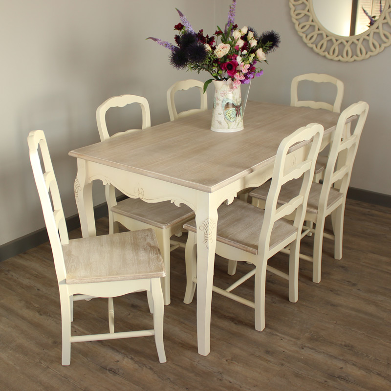 Cream Large Dining Table And 6 Chairs Set Kitchen Shabby Country Chic  Furniture
