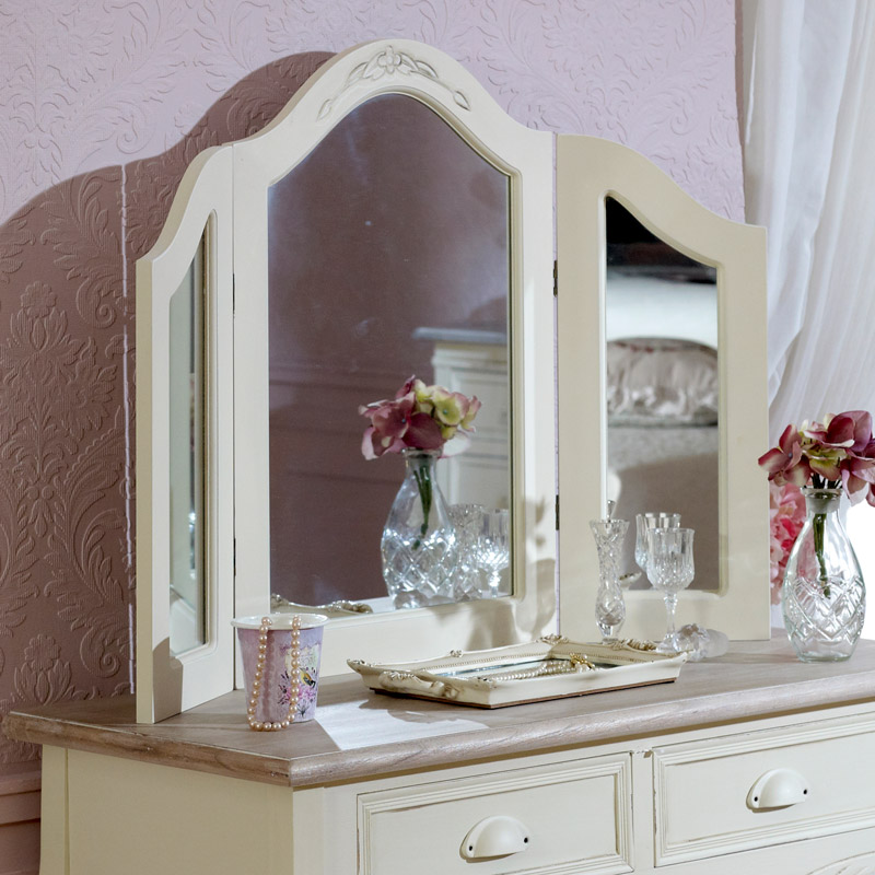 Country Ash Range - Cream Table And Triple Mirror