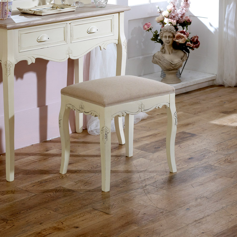 Country Ash Range - Cream Table, Triple Mirror And Stool