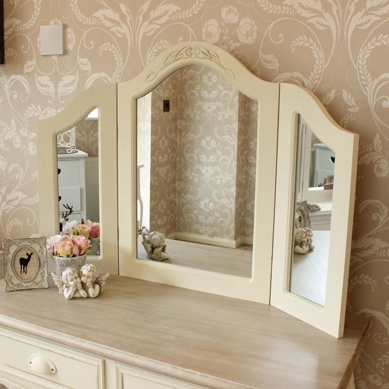 Cream Triple Freestanding Dressing Table Mirror Country