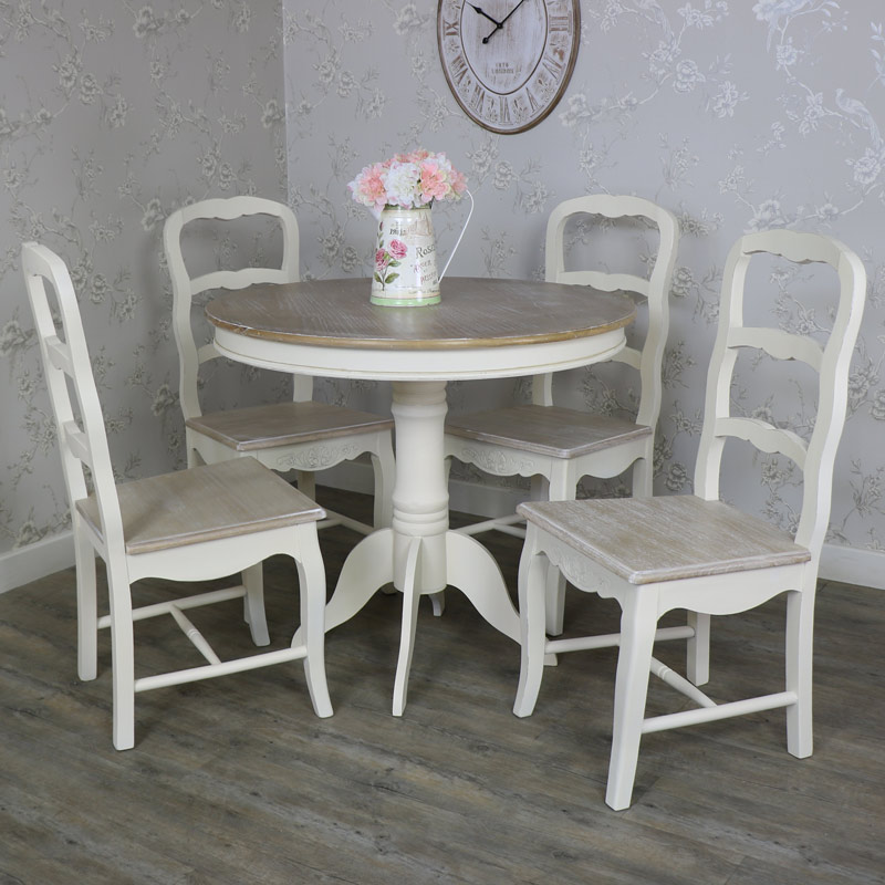 Country Ash Range   Furniture Bundle, Cream Round Pedestal Dining Table And  4 Chairs ...