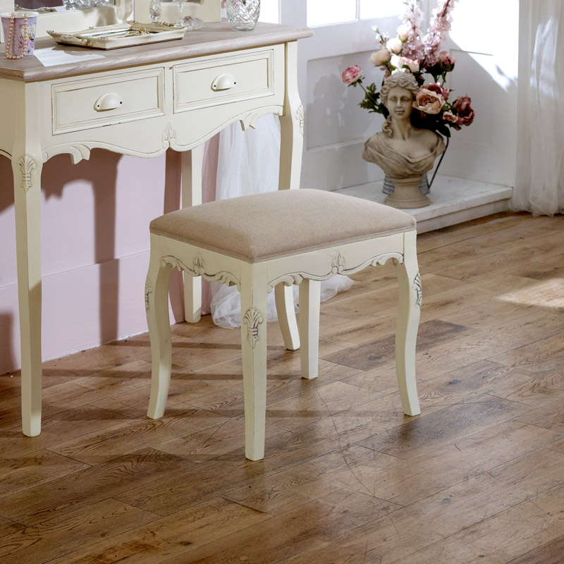 Cream padded dressing table stool shabby french chic - French shabby chic bedroom furniture ...