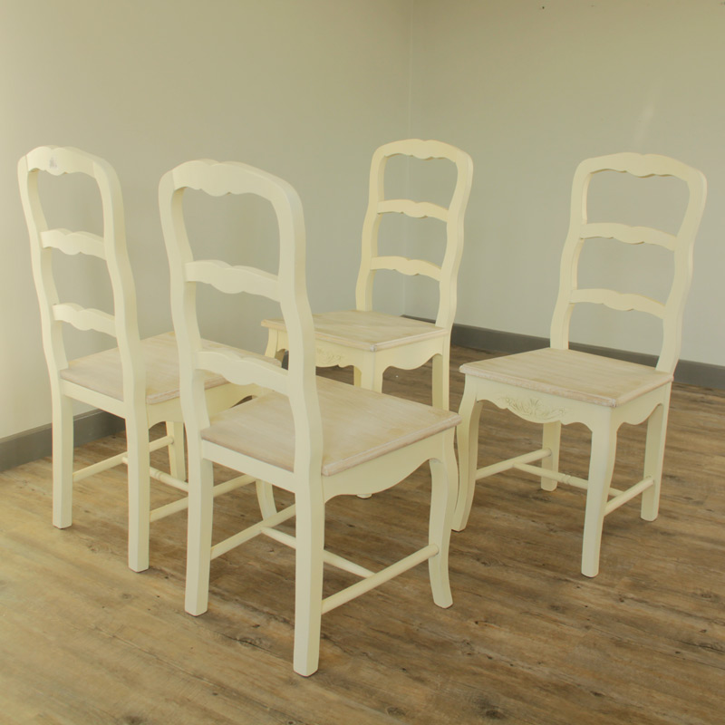Set Of 4 Cream Country Style Dining Chairs Farmhouse Home Furniture Room