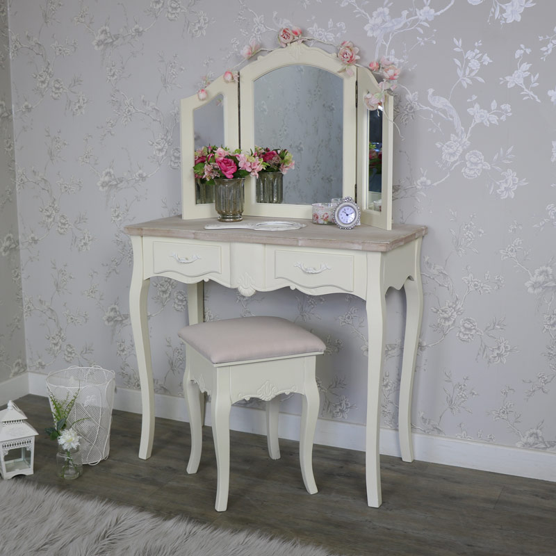 Cream 2 Drawer Dressing Table, Stool And