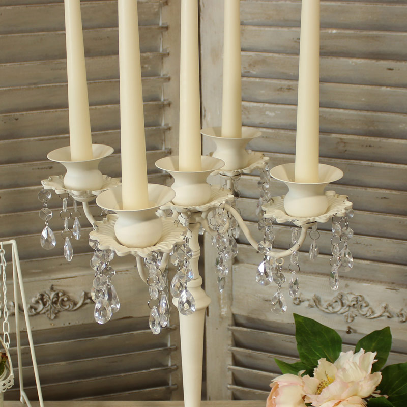 Cream 5 Arm Candelabra with Droppers
