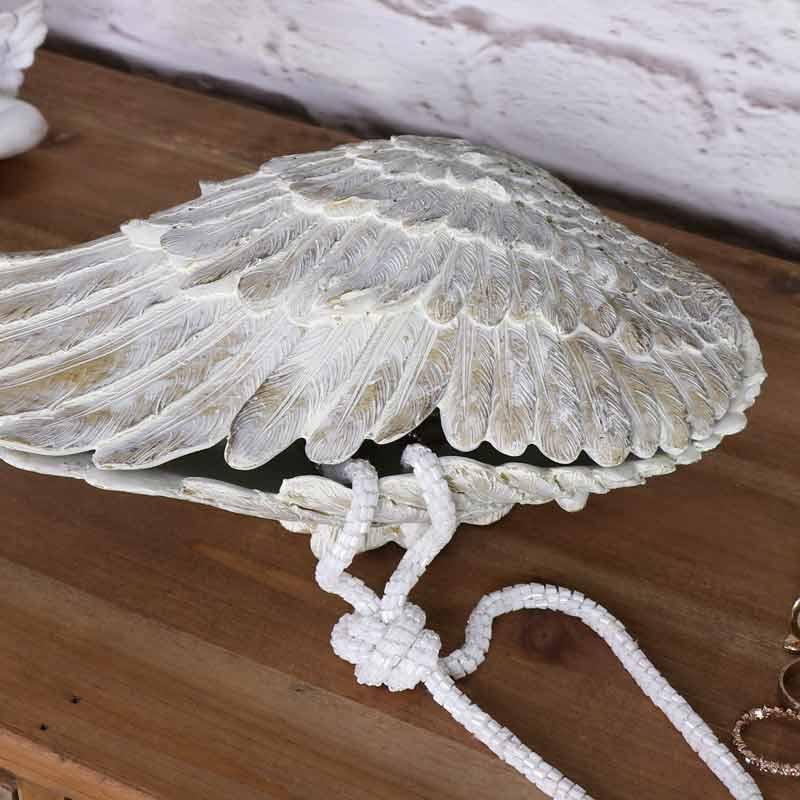 Cream Angel Wing Shaped Trinket Box