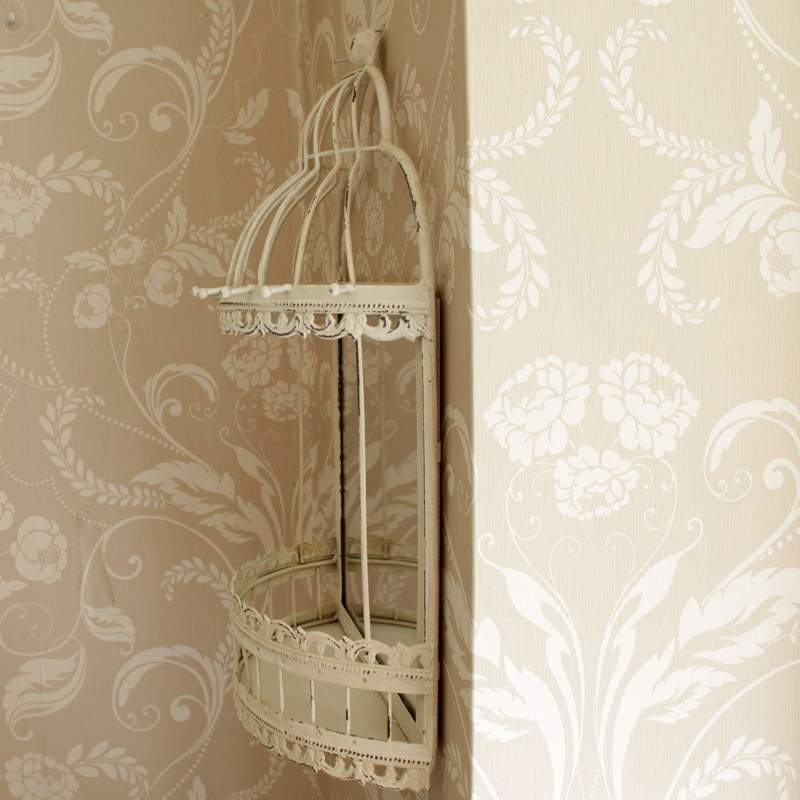 cream metal birdcage wall mirror with shelf french bedroom. Black Bedroom Furniture Sets. Home Design Ideas