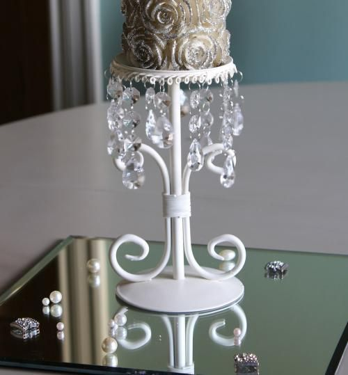 Cream Candlestand with Jewels