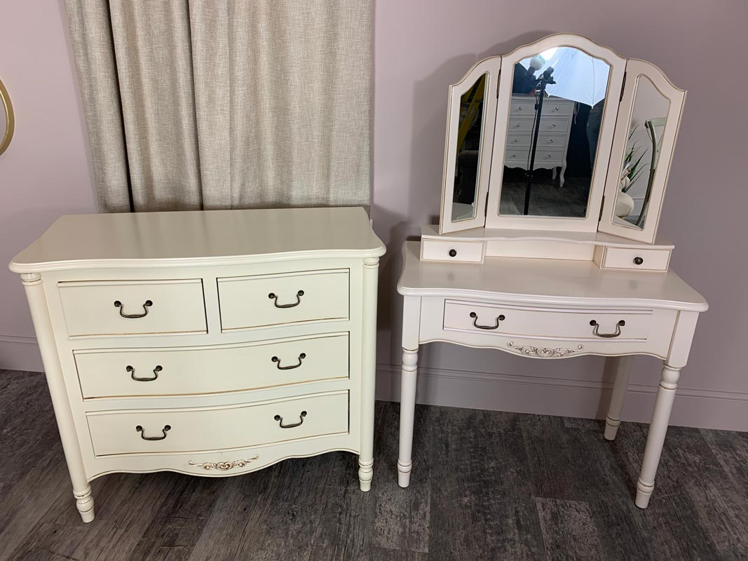 Cream Chest of Drawers and Dressing Table with Mirror - Adelise Range - EX - SHOWROOM 2008