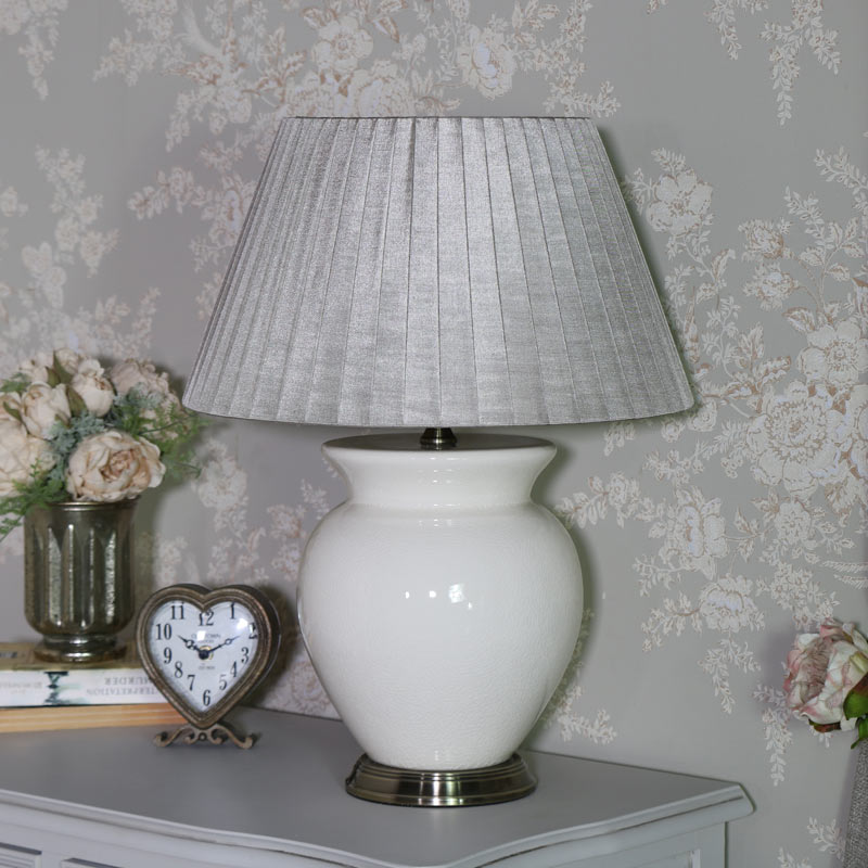 Cream Crackled Effect Ceramic Table Lamp with Champagne Shade