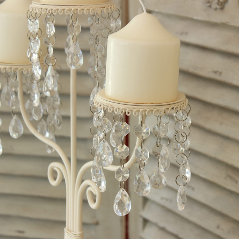 Cream Crystal Droppers Candelabra