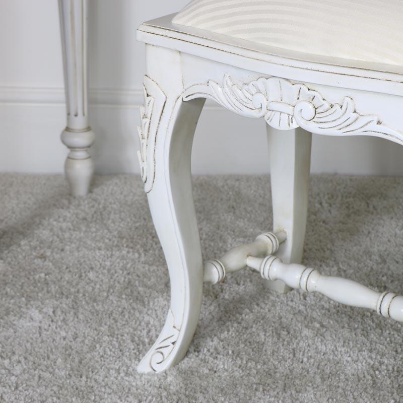 Cream Cushioned Dressing Table Stool - Limoges Range