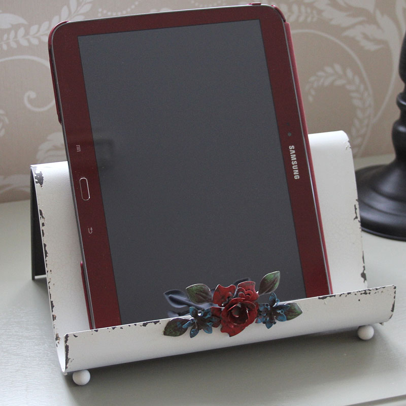 Cream book tablet holder with flower ipad stand cook book kitchen shabby vintage ebay - Cream recipe book stand ...