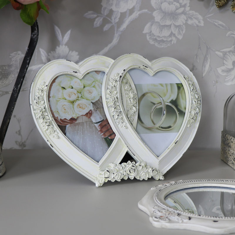 Cream Double Heart Photograph Frame - Melody Maison®