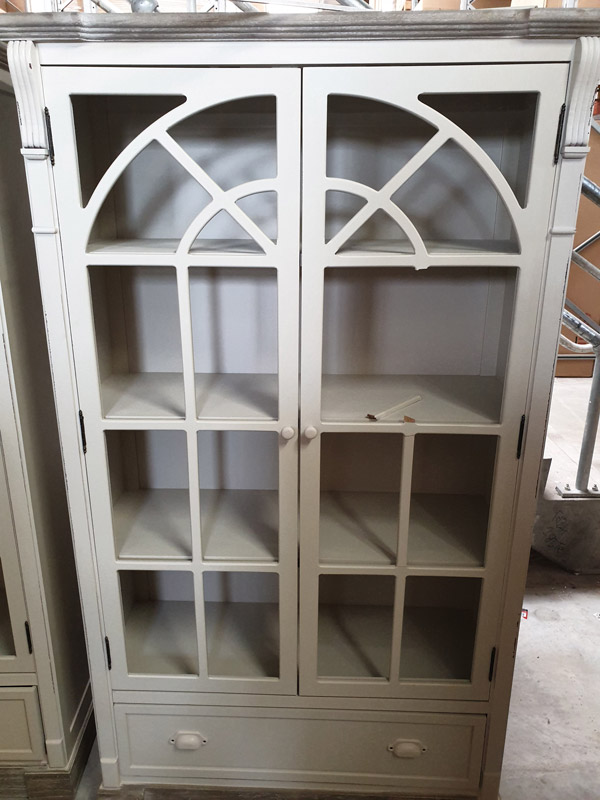 Cream Glazed Display Cabinet - Lyon Range DAMAGED SECONDS ITEM 3035