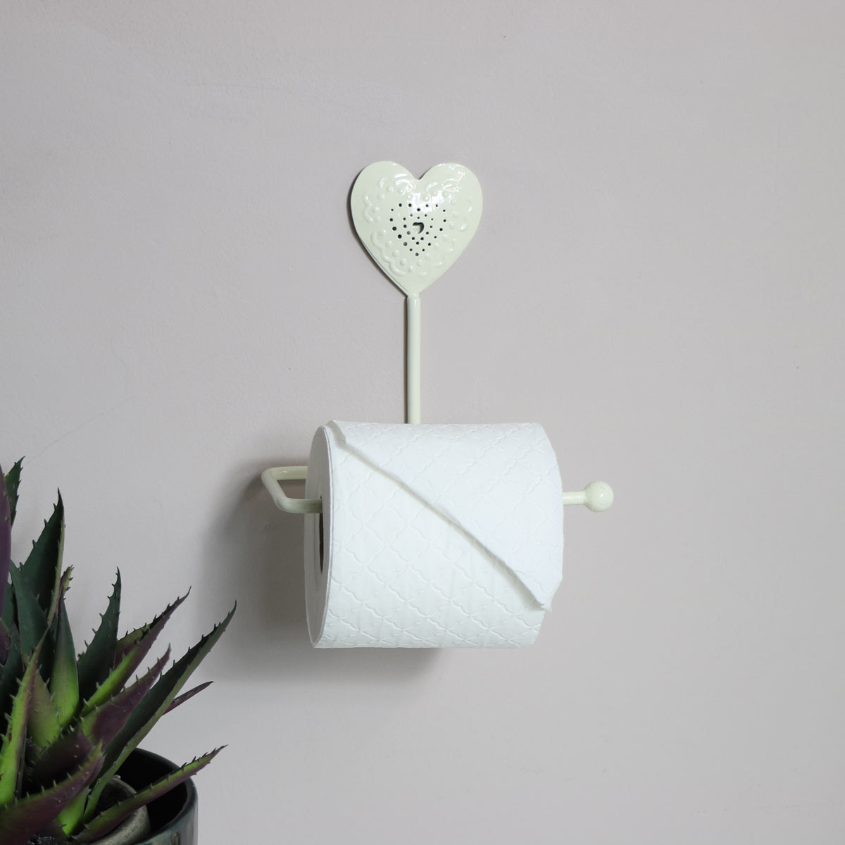 Cream Heart Design Toilet Roll Holder Bathroom Loo Vintage