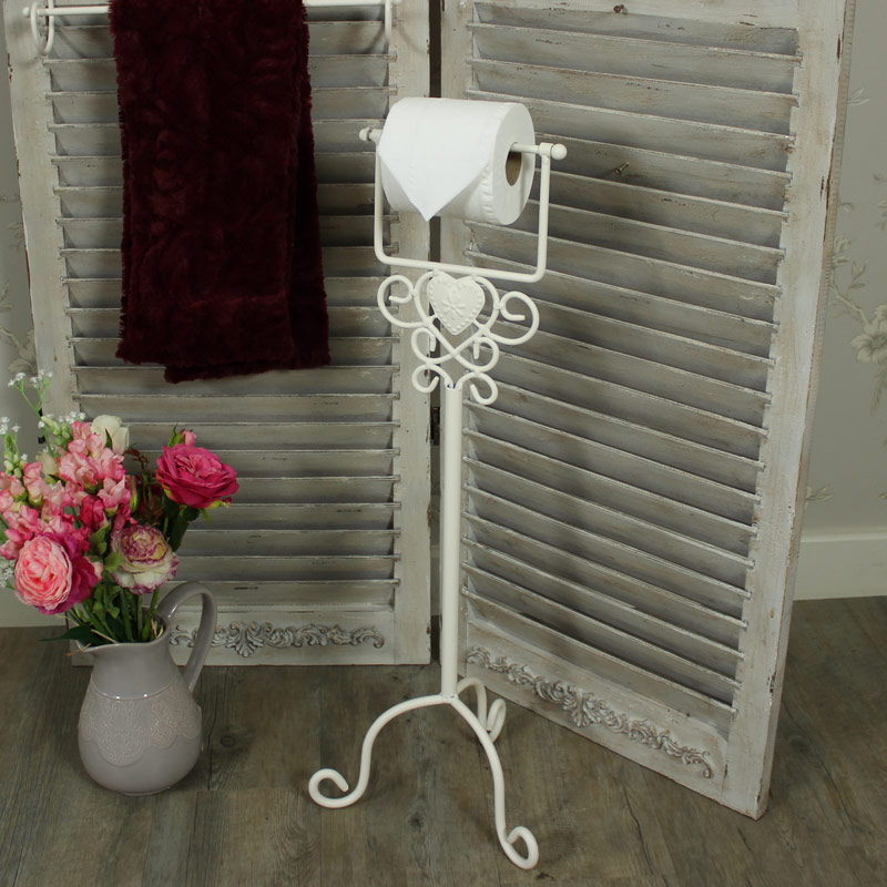 Cream Heart Free Standing Toilet Roll Holder