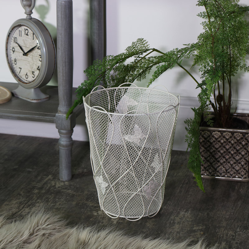 Cream Metal Butterfly Bin