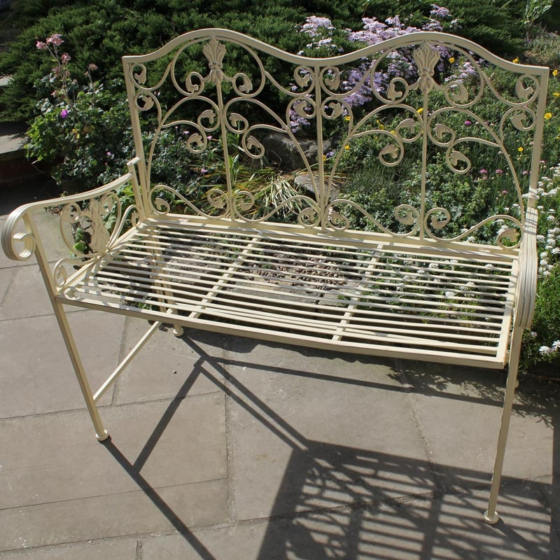 Cream Metal Garden Bench