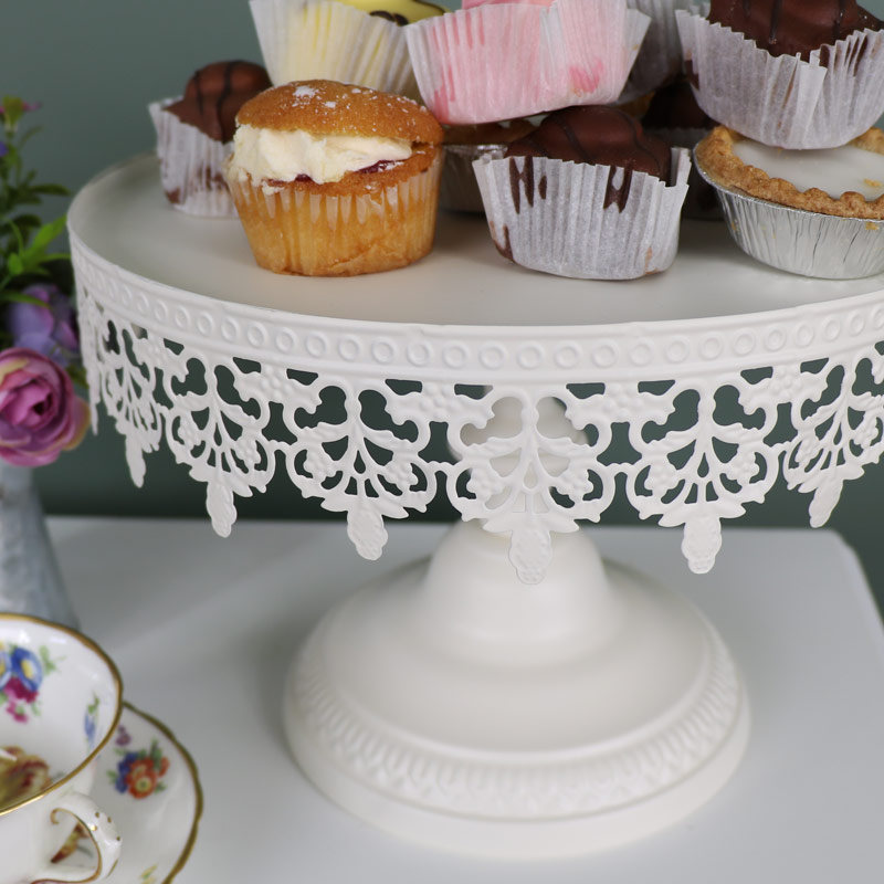 Cream Metal Vintage Cake Display Stand