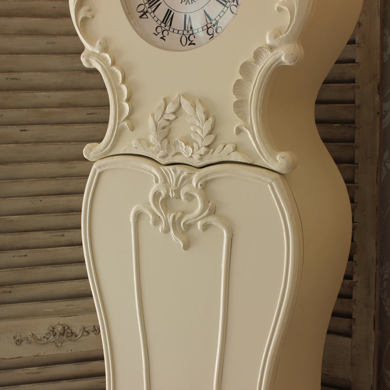 Cream Ornate Grandmother Clock