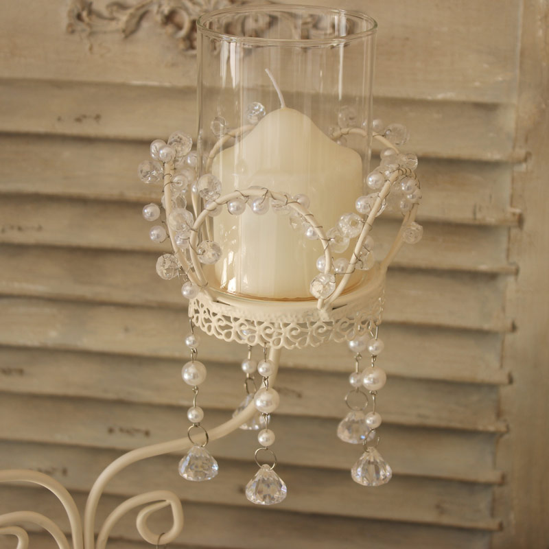 Cream Pearl and Crystal Candelabra