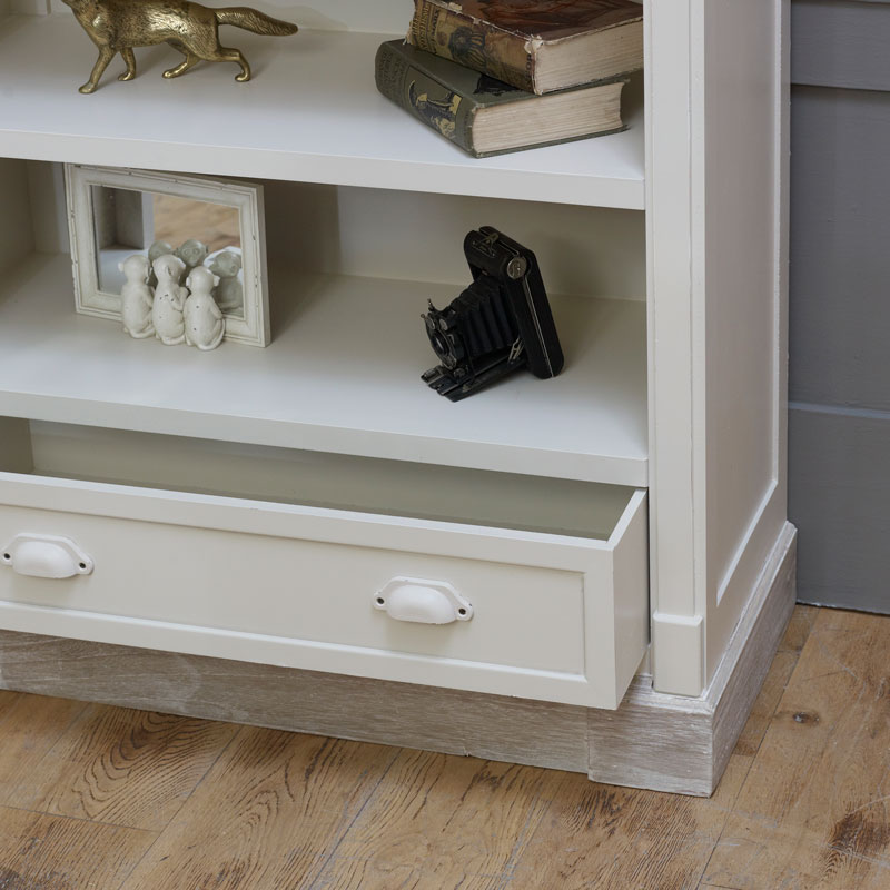 Cream Rustic Bookcase with Drawer - Lyon Range