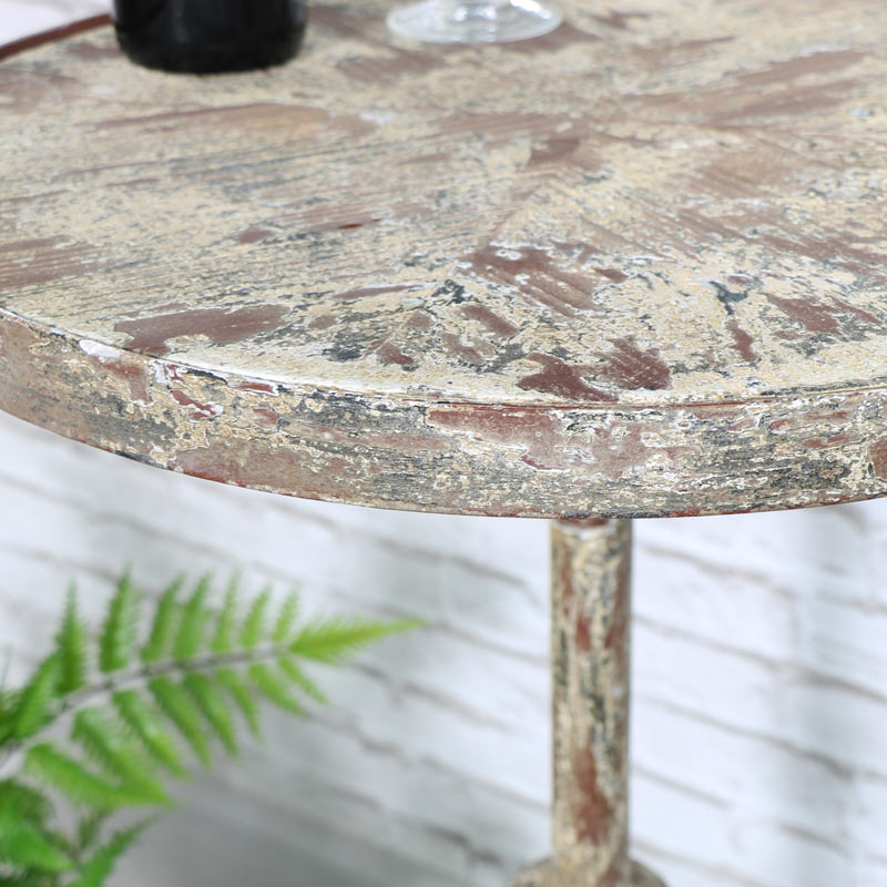 Cream Rustic Occasional Round Side Table