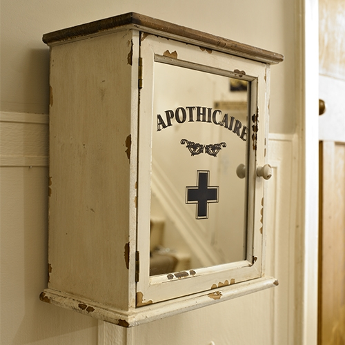 Cream Apothicaire Medicine Wall Bathroom Cabinet Storage