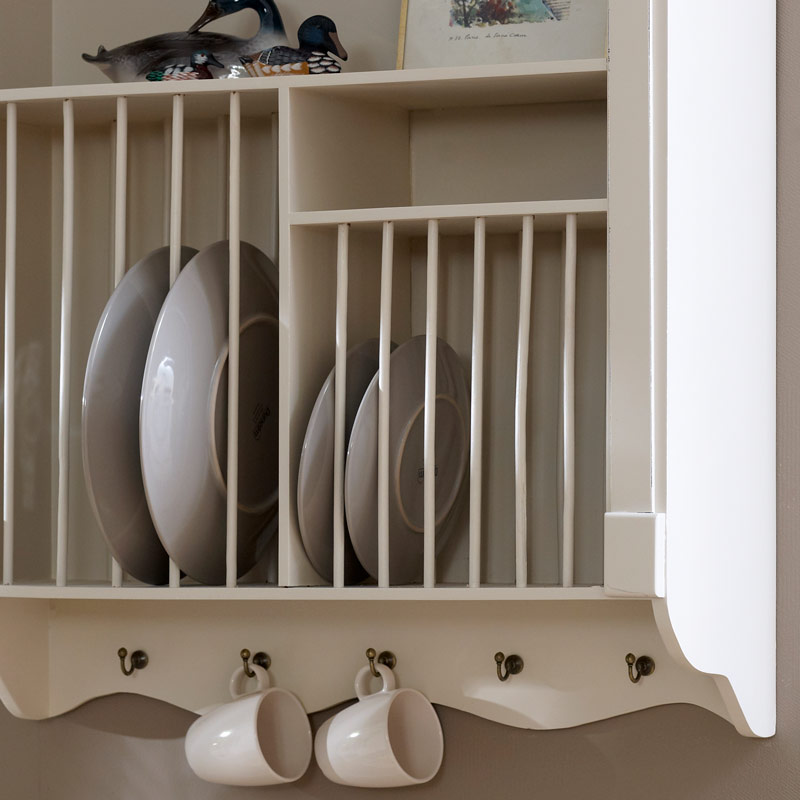 Cream Wall Mounted Plate Rack - Lyon Range
