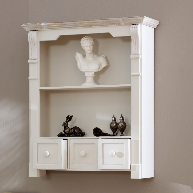antique white shelf unit with drawers lyon range melody maison. Black Bedroom Furniture Sets. Home Design Ideas