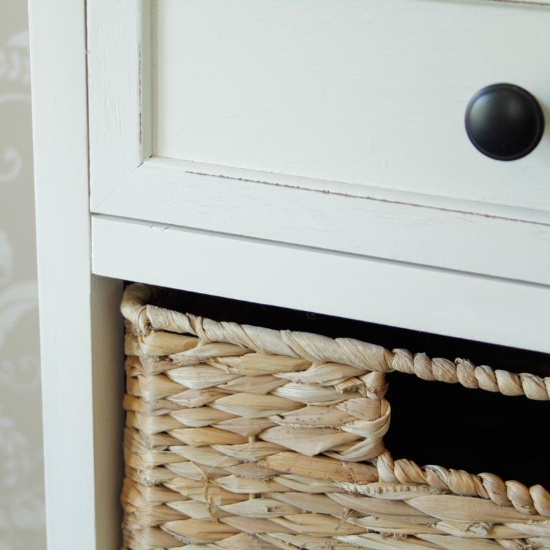 Cream Wicker Storage Unit - One Drawer/ Four Baskets