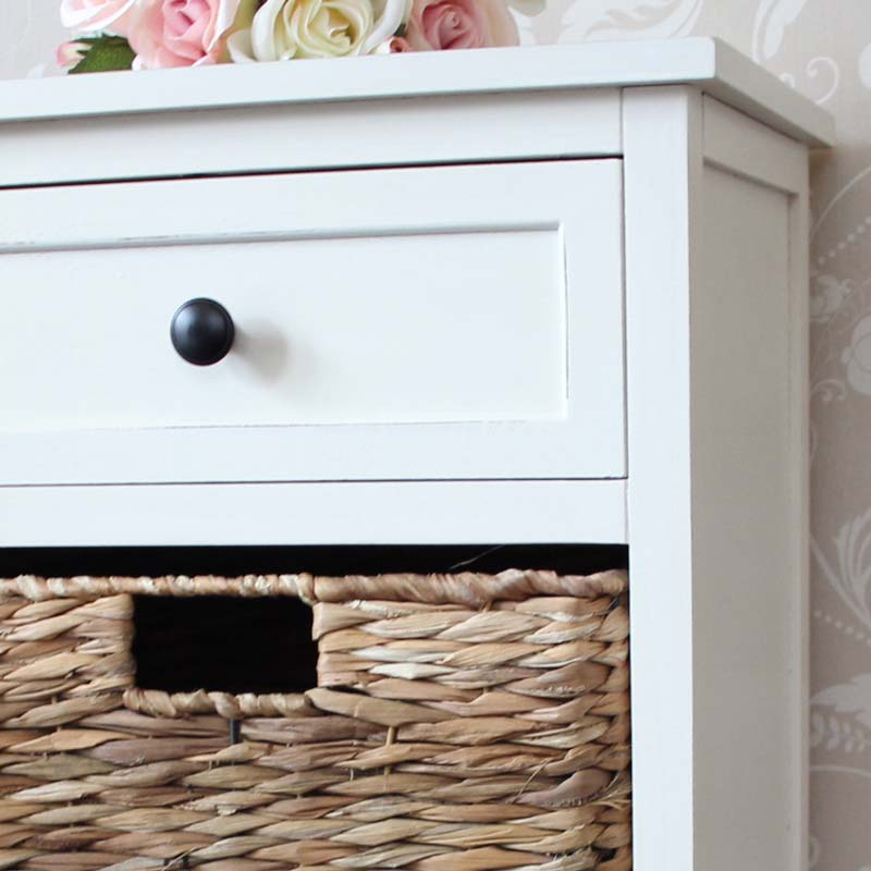 Cream Wicker Storage Unit - One Drawer/Two Baskets