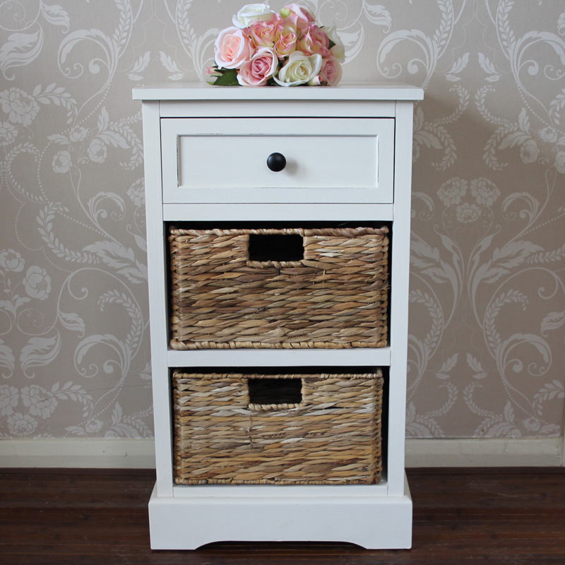 Château Range   Ivory Wicker Storage Unit   One Drawer/Two Baskets