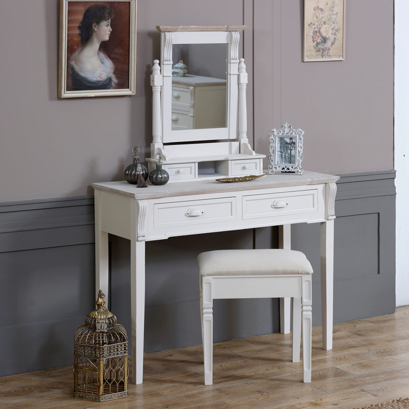 ... Cream Wood Dressing Table, Mirror, Stool Set With 2 Bedside Chests    Lyon Range ...